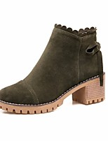 cheap -Women's Shoes Flocking Fall & Winter Combat Boots Boots Chunky Heel Round Toe Booties / Ankle Boots Black / Gray / Army Green