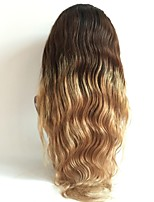 cheap -Virgin Human Hair Wig Brazilian Hair Body Wave Wavy Layered Haircut 130% Density Dark Roots Ombre Hair Blonde Short Long Mid Length