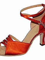 cheap -Women's Latin Shoes Silk Heel Stiletto Heel Dance Shoes Red / Almond / Performance / Leather / Practice