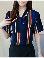 cheap -women's going out / work blouse - striped v neck