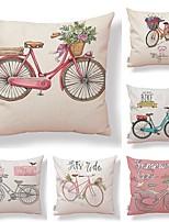 abordables -6 pcs Tissu / Coton / Lin Taie d'oreiller, Fleur / Décoration artistique / Imprimé simple / Forme carrée