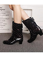 cheap -Women's Shoes PVC Leather Fall Rain Boots Boots Chunky Heel for Black / Leopard