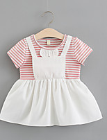 cheap -Toddler Girls' Solid Colored / Striped / Patchwork Short Sleeve Dress