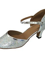 cheap -Women's Modern Shoes Sparkling Glitter Heel Indoor Cuban Heel Customizable Dance Shoes Silver