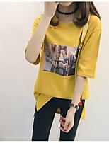 cheap -Women's Basic T-shirt - Solid Colored / Portrait Print / Lace up