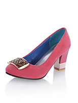 cheap -Women's Shoes Fleece Spring & Summer Basic Pump Heels Chunky Heel Round Toe Rhinestone Blue / Pink / Wine