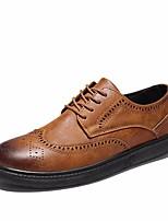 Недорогие -Муж. обувь Полиуретан Весна Удобная обувь Туфли на шнуровке Черный / Серый / Коричневый