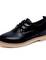 abordables -Femme Chaussures Polyuréthane Printemps Eté Confort Oxfords Talon Bas Bout rond pour Décontracté Bureau et carrière Blanc Noir