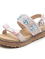 cheap -Girls' Shoes PU Summer Comfort Sandals Flower / Hook & Loop for Black / Pink