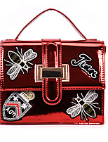 cheap -Women's Bags PU Shoulder Bag Appliques Silver / Red / Blushing Pink