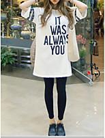 cheap -Women's Plus Size Cotton T-shirt - Solid Colored / Striped / Letter