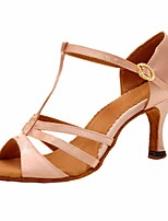 cheap -Women's Latin Shoes Silk Sandal / Heel Performance / Practice Stiletto Heel Dance Shoes Almond / Leather