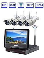 abordables -strongshine @ 4ch nvr built-in 10.1 pouce lcd réseau vidéo enregistreur sans fil de sécurité de surveillance stystem avec 1.3mp ir étanche wifi