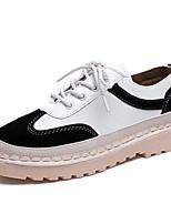 abordables -Femme Chaussures Polyuréthane Printemps Confort Oxfords Talon Plat Bout rond pour Noir Brun claire