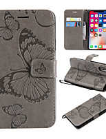 cheap -Case For Apple iPhone X / iPhone 8 Plus Wallet / Card Holder / with Stand Full Body Cases Butterfly Hard PU Leather for iPhone X / iPhone