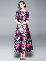 economico -Per donna Moda città / sofisticato Linea A / Swing Vestito - Con stampe, Fantasia floreale Maxi