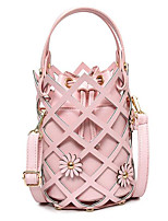 cheap -Women's Bags PU Leather Tote Hollow-out / Flower Silver / Blushing Pink / Beige