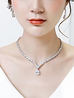 cheap -Women's Cubic Zirconia Jewelry Set - Fashion Include Drop Earrings / Pendant Necklace White For Wedding / Evening Party