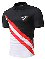 cheap -Men's Basic Polo - Color Block Black & Red