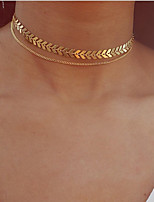 cheap -Layered Choker Necklace / Pendant Necklace / Layered Necklace  -  Leaf Vintage, Bohemian, European Gold, Silver 30 cm Necklace For Party / Evening, Gift