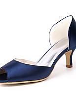 abordables -Femme Chaussures Satin Printemps été Escarpin Basique Chaussures de mariage Talon Aiguille Bout ouvert pour Mariage Soirée & Evénement
