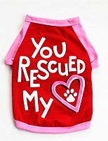 baratos -Cachorros / Gatos / Animais de Estimação Colete Roupas para Cães Coração / Slogan / Desenho Animado Vermelho / Azul Algodão Ocasiões
