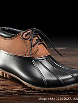 abordables -Femme Chaussures Cuir PVC Printemps été Bottes de pluie Bottes Talon Bas pour Marron