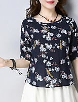 cheap -Women's Holiday Cotton T-shirt - Floral