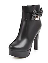 abordables -Femme Chaussures Similicuir Hiver Bottes à la Mode Bottes Talon Bottier Bout rond Bottine / Demi Botte Noeud / Paillette Brillante Noir /