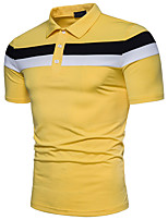 cheap -Men's Basic Polo - Solid Colored Striped Color Block