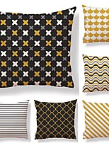 cheap -6 pcs Textile / Cotton / Linen Pillow case, Striped / Lines / Waves / Printing Geometric / Square Shaped