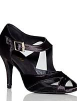 Недорогие -Жен. Обувь для латины Сатин На каблуках Планка Тонкий высокий каблук Персонализируемая Танцевальная обувь Черный / Темно-красный