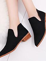 baratos -Mulheres Sapatos Couro Ecológico Primavera Conforto Botas Salto Robusto para Casual Preto Vinho
