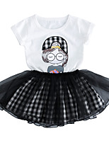 cheap -Toddler Girls' Polka Dot Print Short Sleeves Clothing Set