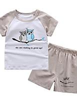 cheap -Toddler Boys' Blue & White Print Short Sleeve Clothing Set