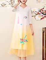 cheap -8CFAMILY Women's Vintage / Sophisticated Swing Dress - Color Block Embroidered
