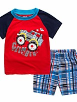 cheap -Toddler Boys' Black & Red Print / Color Block Short Sleeve Clothing Set