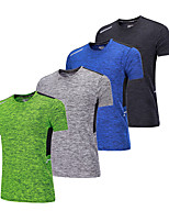 abordables -BARBOK Homme Col Ras du Cou Couche de Base - Vert, Bleu, Gris Des sports Tee-shirt Manches Courtes Tenues de Sport Léger, Séchage rapide,