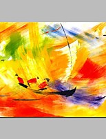 cheap -Oil Painting Hand Painted - Abstract / Sports Modern Canvas