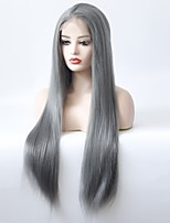cheap -Synthetic Lace Front Wig Straight Layered Haircut Synthetic Hair Soft / Heat Resistant / Women Dark Gray Wig Women's Long Lace Front Wig / Yes
