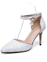 abordables -Femme Chaussures Paillettes Automne / Printemps été Confort Chaussures à Talons Talon Aiguille Bout pointu Paillette / Boucle Blanc /
