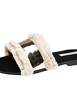 cheap -Women's Shoes PU Fabric Summer Comfort Slippers & Flip-Flops Flat Heel Tassel for Casual White Black