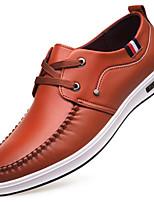 Недорогие -Муж. обувь Искусственное волокно Весна Удобная обувь Туфли на шнуровке Черный / Коричневый