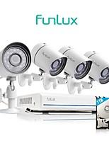 Недорогие -funlux® 4ch 1080p hdmi nvr упрощенный стиль 4x 720p hd наружная / внутренняя система безопасности камеры 1 тб жесткий диск