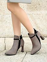 baratos -Mulheres Sapatos Cashmere Inverno Conforto Botas Salto Robusto para Casual Preto Cinzento