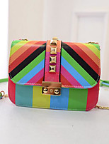 cheap -Women's Bags PU Leather Shoulder Bag Rivet Rainbow