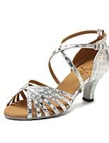 abordables -Mujer Zapatos de Baile Latino Cuero Sintético Zapatilla Flor de Satén Tacón Cubano Personalizables Zapatos de baile Dorado / Plata / Rojo