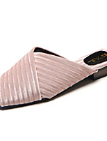 cheap -Women's Shoes Flocking Summer Comfort Slippers & Flip-Flops Flat Heel for Casual Black Gray Green Pink