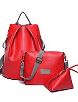 cheap -Women's Bags PU Leather Bag Set 3 Pcs Purse Set Appliques for Shopping Black / Gray / Fuchsia