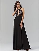cheap -Sheath / Column Jewel Neck Floor Length Spandex Lace Prom / Formal Evening Dress with Sash / Ribbon Split Front by TS Couture®